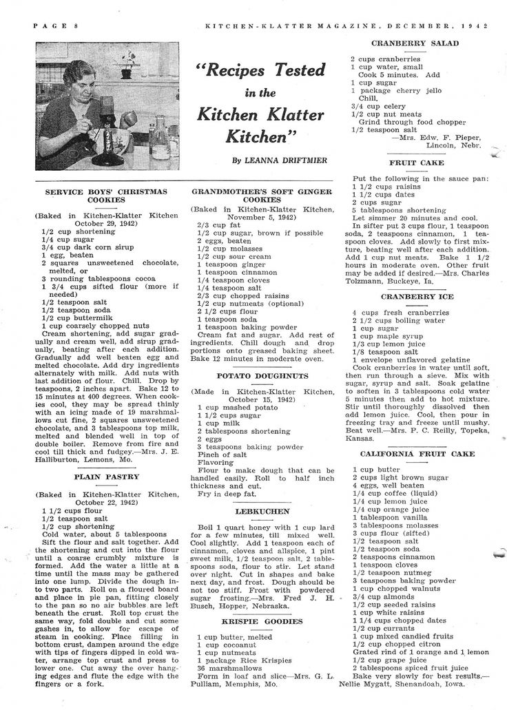 Kitchen Klatter Magazine, December 1942 Service Boys Christmas Cookies, Plain…