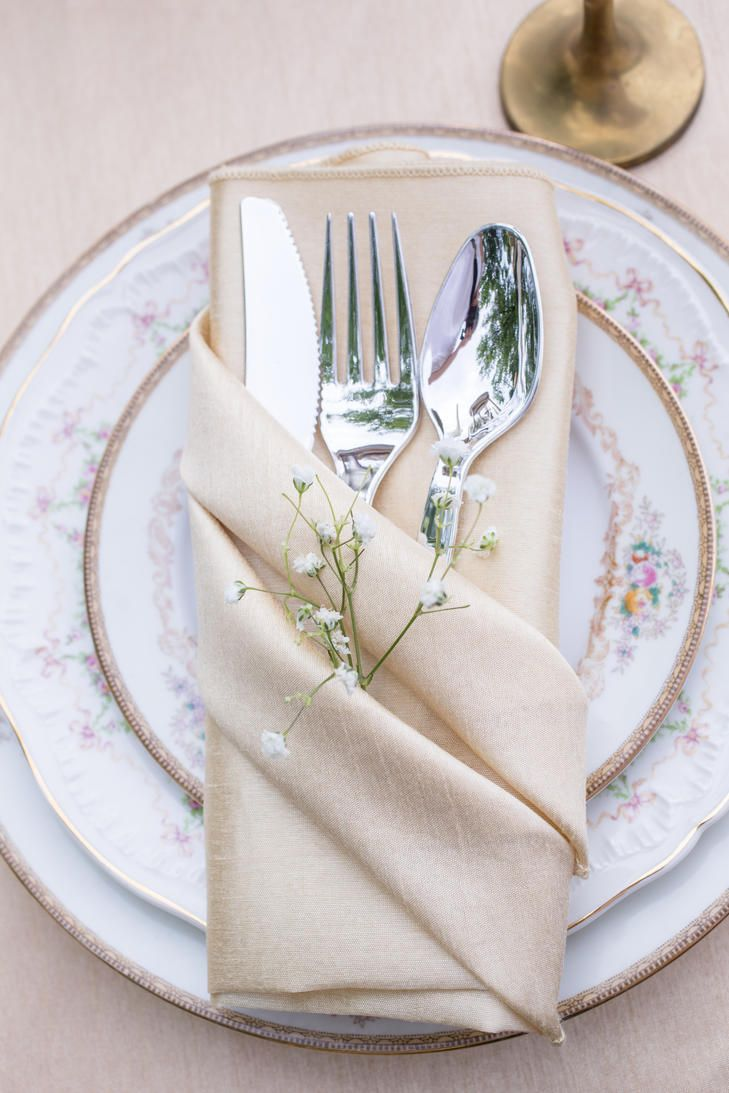 Champagne Linens and Vintage Floral China