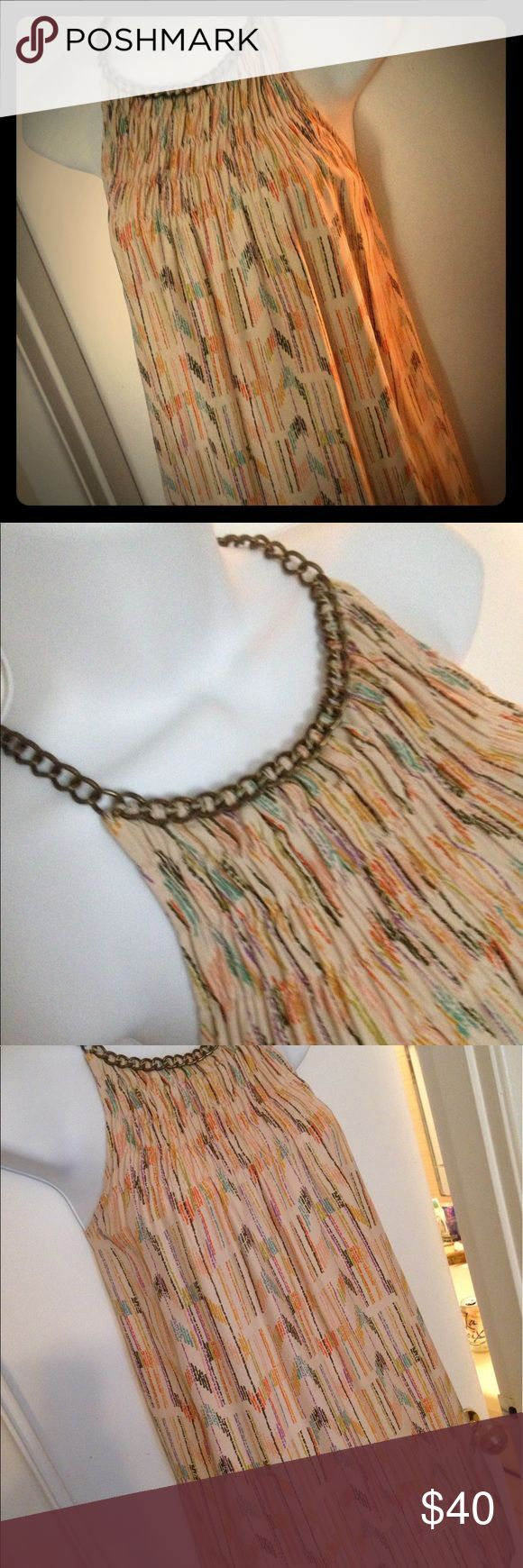VEUC Parker Chain Collar Chevron Print Silk Tank Chain neckline silk Parker tank. Can be worn loose and flowing or belt. Great earthy colors and chevron-like pattern. Wore 1x. Parker Tops Blouses