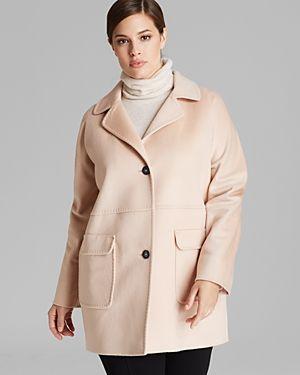 #plussize pink coat MARINA RINALDI NOCCIOLA SHORT COAT
