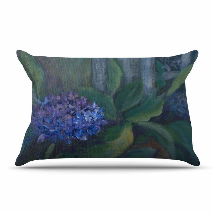 """Cyndi Steen """"Hydrangea"""" Floral Green Pillow Case"""