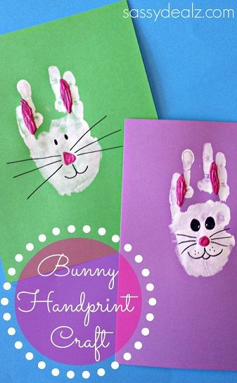 Learn how to make a bunny handprint craft for kids! This is a fun and easy Easter art project to do. All you need is paint, and a black marker to make art.