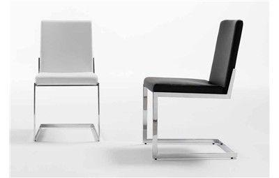 Silla any ecopiel o piel silla moderna de comedor con for Sillas de metal modernas