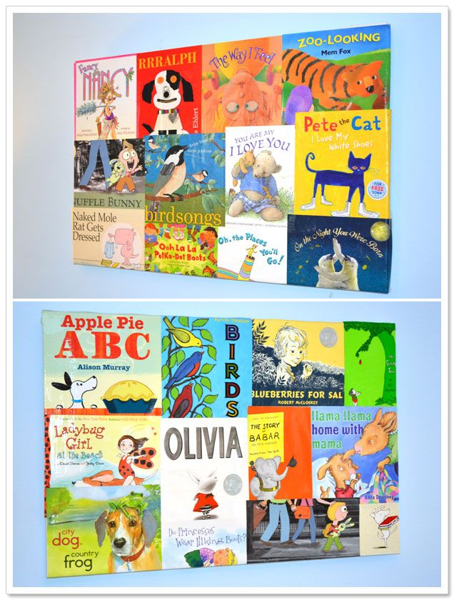 Adhere children's book jackets to a canvas with spray mount and then apply a few coats of mod podge gloss on top. Adorable art work for play room or kid's bedroom.