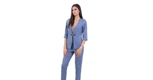 778e22e0f0c Летен, дамски костюм в светло синьо, състоящ се от сако и панталон JN 18160  - 158 BLUE | INISESS ® - Промоционална Цена 188.00лв. (Каталожна Цена  209.00лв.)
