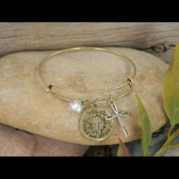 """""""With God all things are possible"""". Matt. 19:26. Designer-look 3/8"""" to 1"""" charms in burnished goldtone with a clear crystal accent and Matthew 19:26 (""""With God, all things are possible"""") dangle from this latest fashion statement wire bangle bracelet. Jewelry Bracelets"""