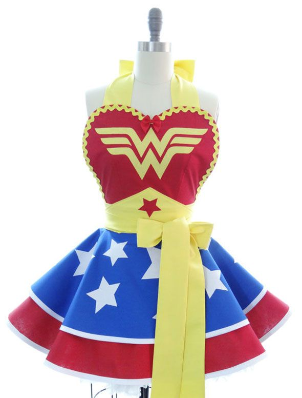 Wonder Woman Apron-kids would be mortified but I'd wear this every night while making dinner.....and own it!  @Michelle Franklin