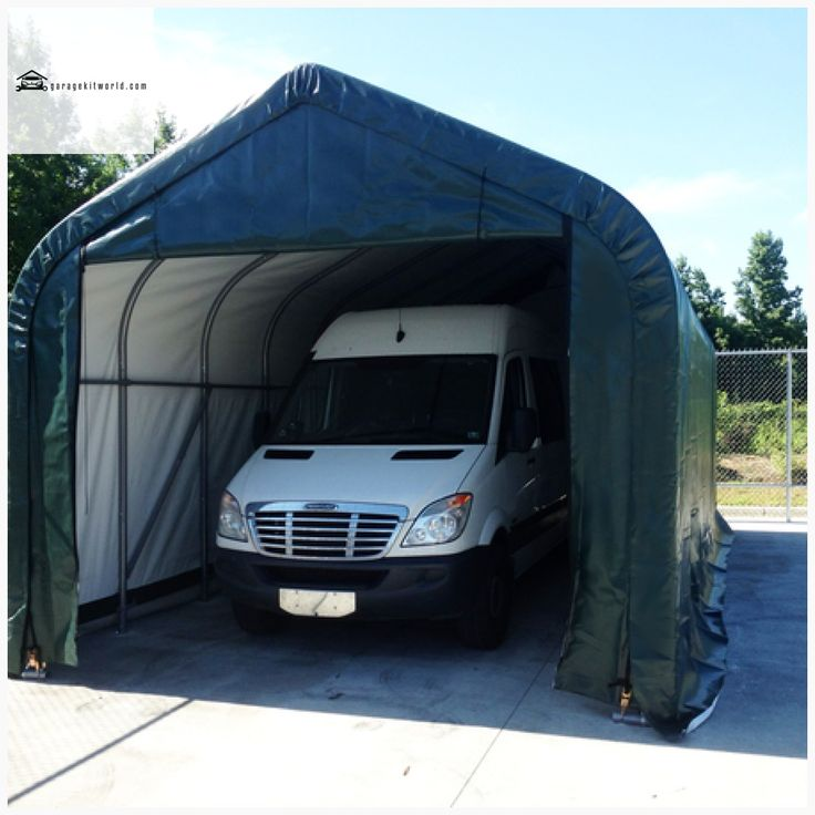 ShelterCoat Green 16 x 44 Peak Portable One Car Garage ...
