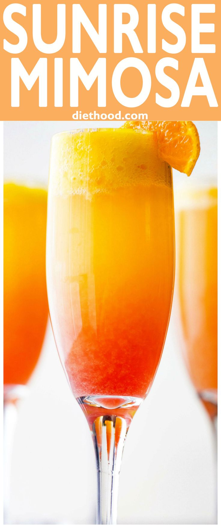 Sunrise Mimosa Recipe - A gorgeous and delicious twist to the classic mimosas prepared with mangos, orange juice, prosecco, and liqueur. A perfect Mother's Day brunch-sipper!
