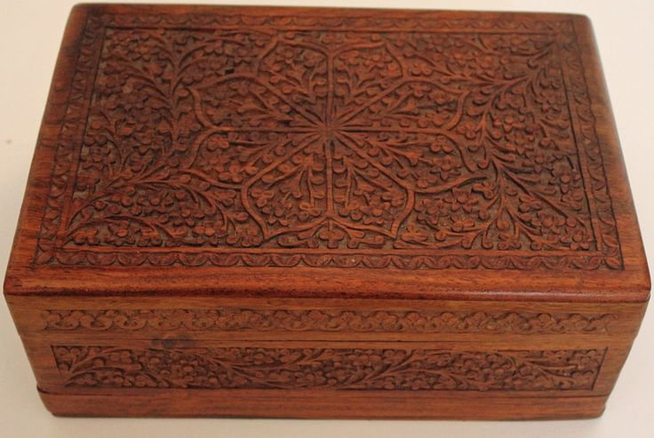 Floral Hand Carved Wooden Jewelry Box with Secret Lock
