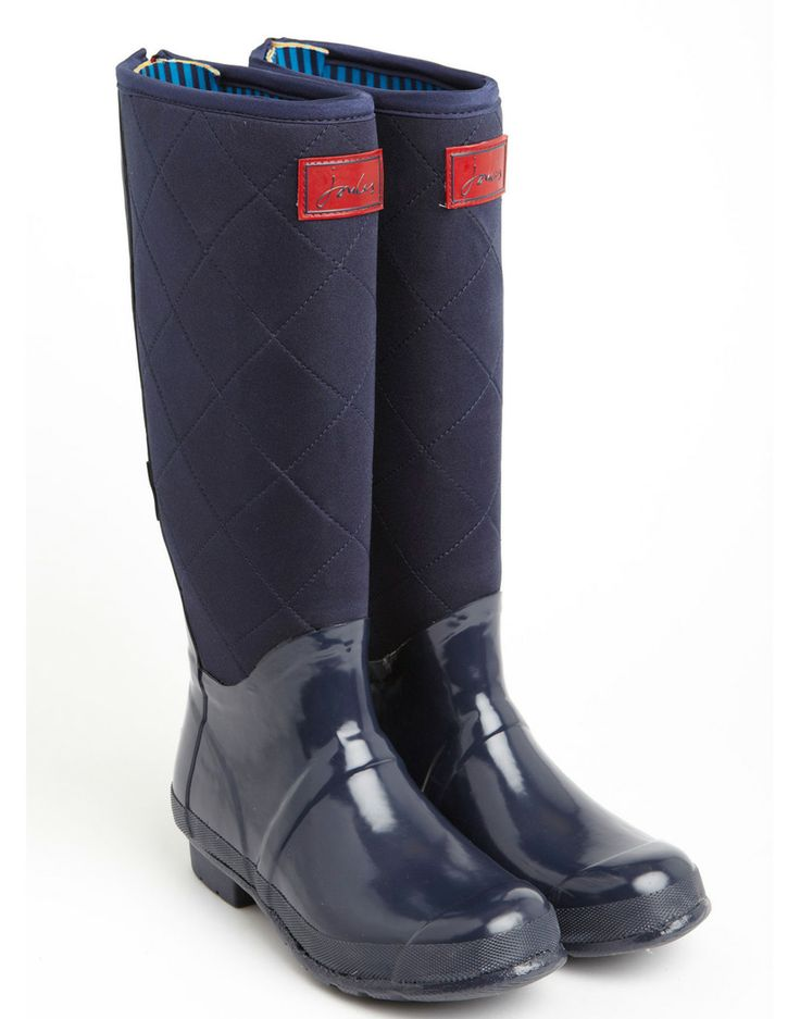 Quilted navy wellies
