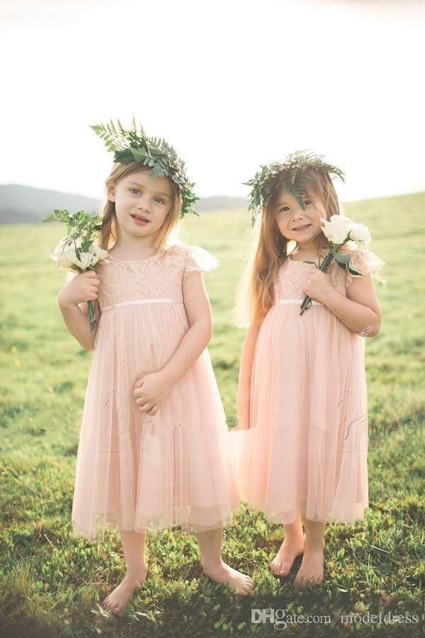 2016 New Cute Blush Flower Girls Dresses For Weddings Lace Top Cap Sleeve Girls Pageant Party Gowns First…
