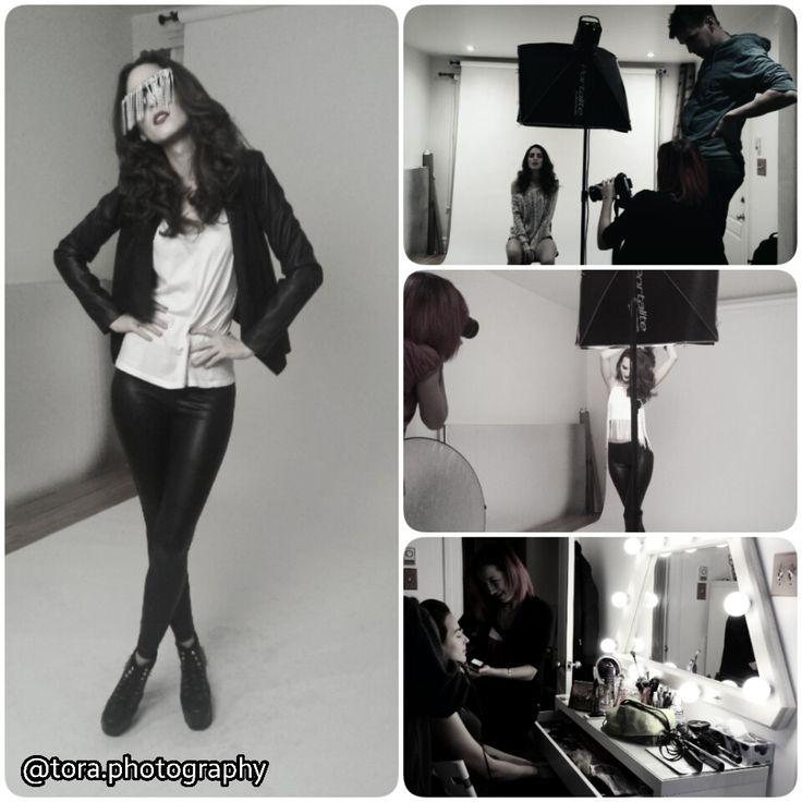 behind the scenes of a fun fashion portrait photoshoot for model Sarah Chinerman. Photographer: @toraphotography  Stylist: Ashley Hirsh @hirshy_kisses Hair: Linda @novaflares