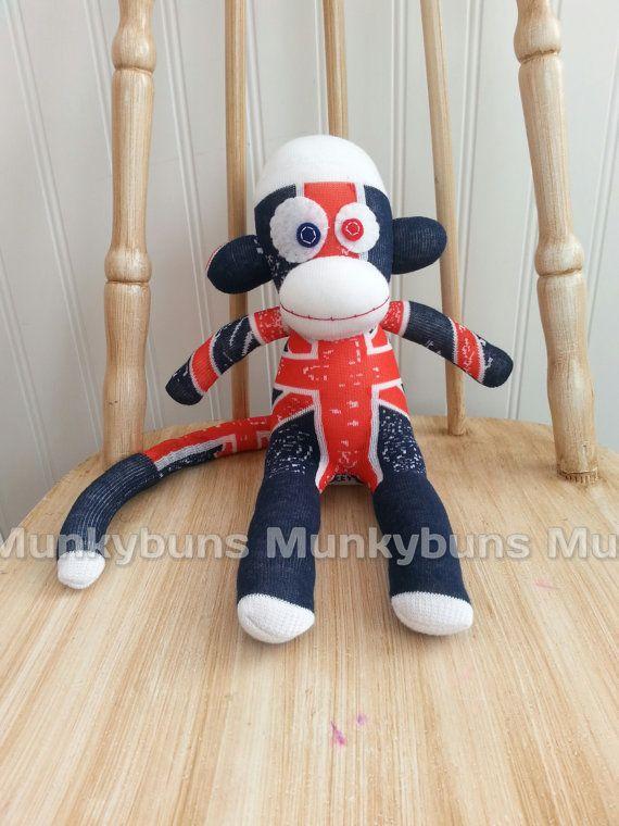 Union Jack Sock Monkey  Small by MunkybunsSockToys on Etsy