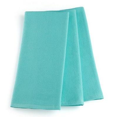 Martha Stewart Collection Pique Kitchen Towels Set of 3 in Aqua
