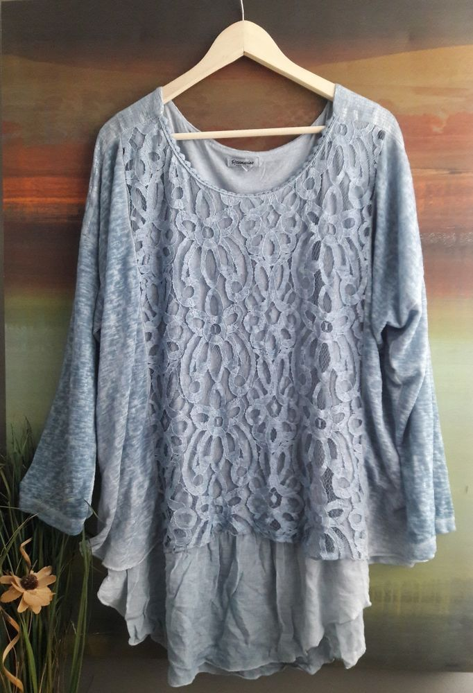 8412f9fce46 ROSEMARINE MADE IN ITALY PLUS SIZE 3X BOHO CHIC LAYERED LACE KNIT TOP TUNIC   ROSEMARINE  KnitTop  Casual