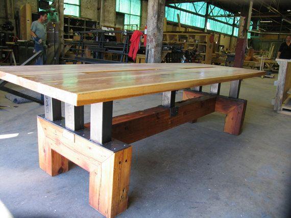 Industrial Farmhouse Heavy Duty Table w computer cords hole by IndustrialFarmHouse  Hickory and Reclaimed heart pine custom table on locking casters