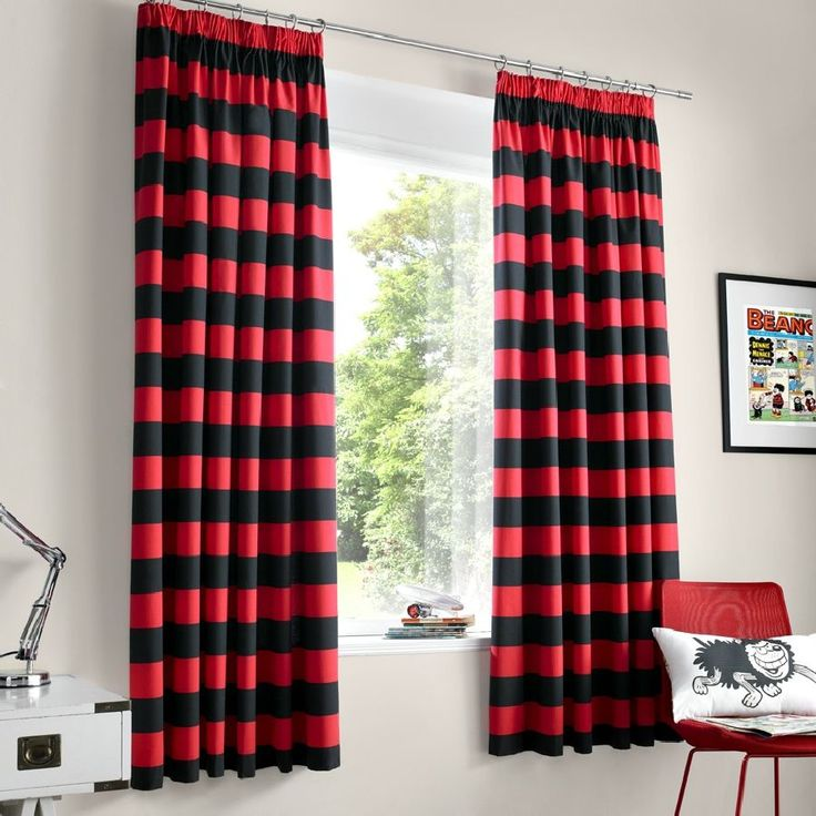 Delightful Red And Black Bedroom Curtains