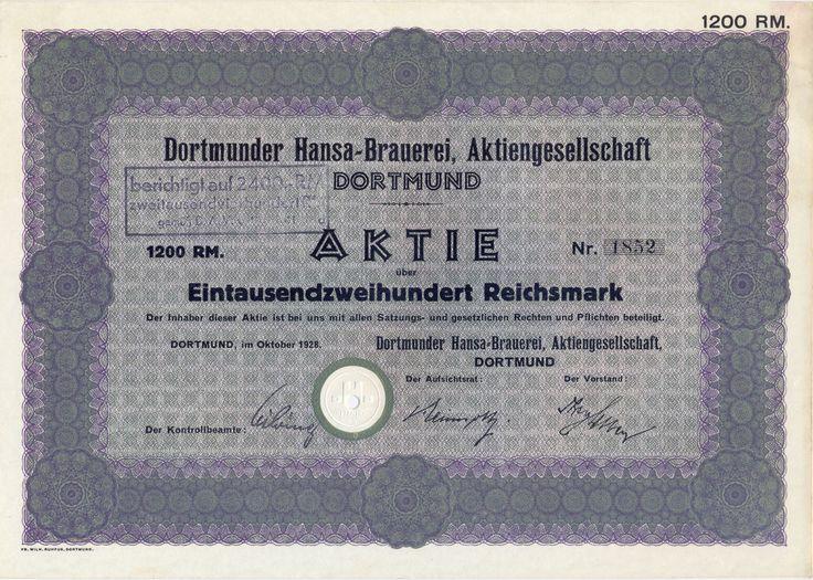 Dortmunder Hansa-Brauerei Aktie 1200 RM 1928