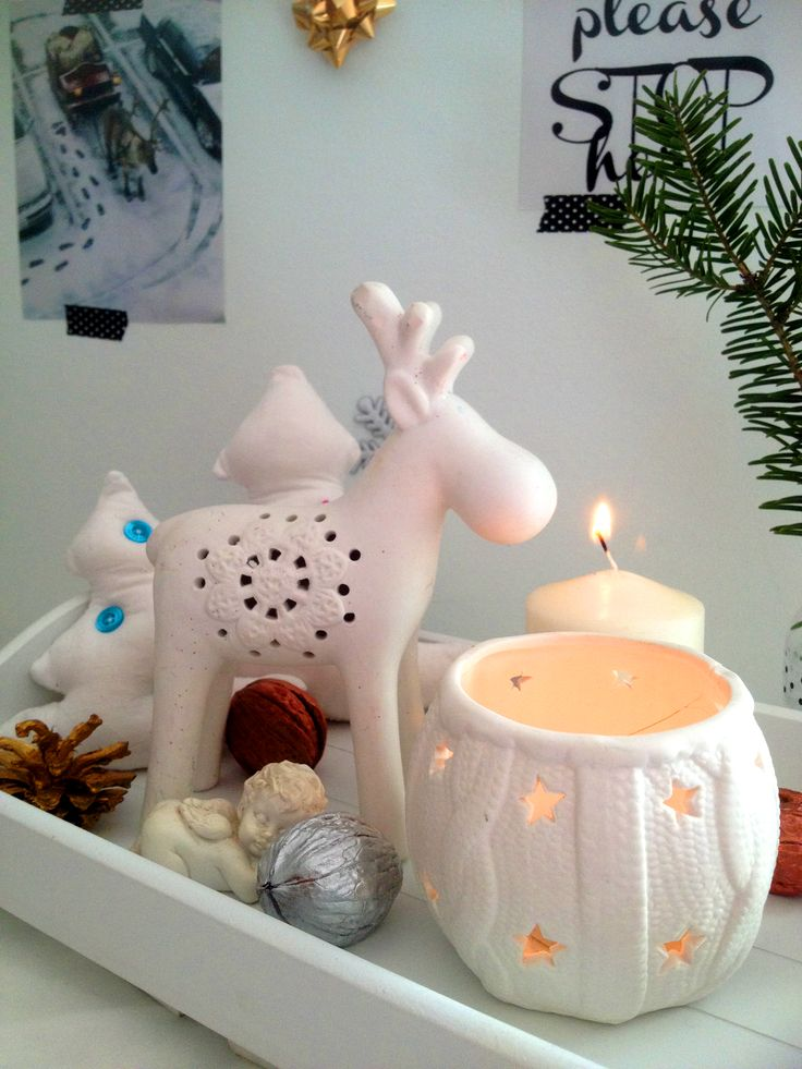 Christmas Decoration by CalabrianSunshine  Candles-White-Natural