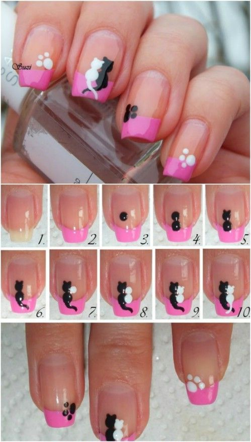 Cats in Love – 20 Ridiculously Cute Valentine's Day Nail Art Designs