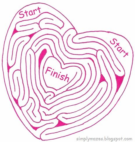 Maze Number 112: Heart within Heart. A pink printable maze.  Perfect for Valentine's Day.