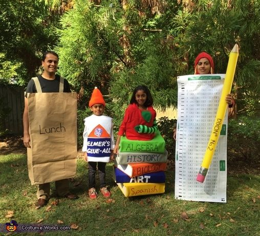 Sheetal: Our costume features a giant sack lunch made form butcher paper, Elmer's glue bottle with orange ribbed ski cap, book-worm with felt covered Macys gift-boxes and a sock from a...