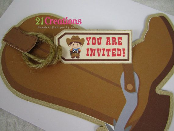 Little Cowboy Boot Invitation  Set of 8 by 21Creations on Etsy, $24.00