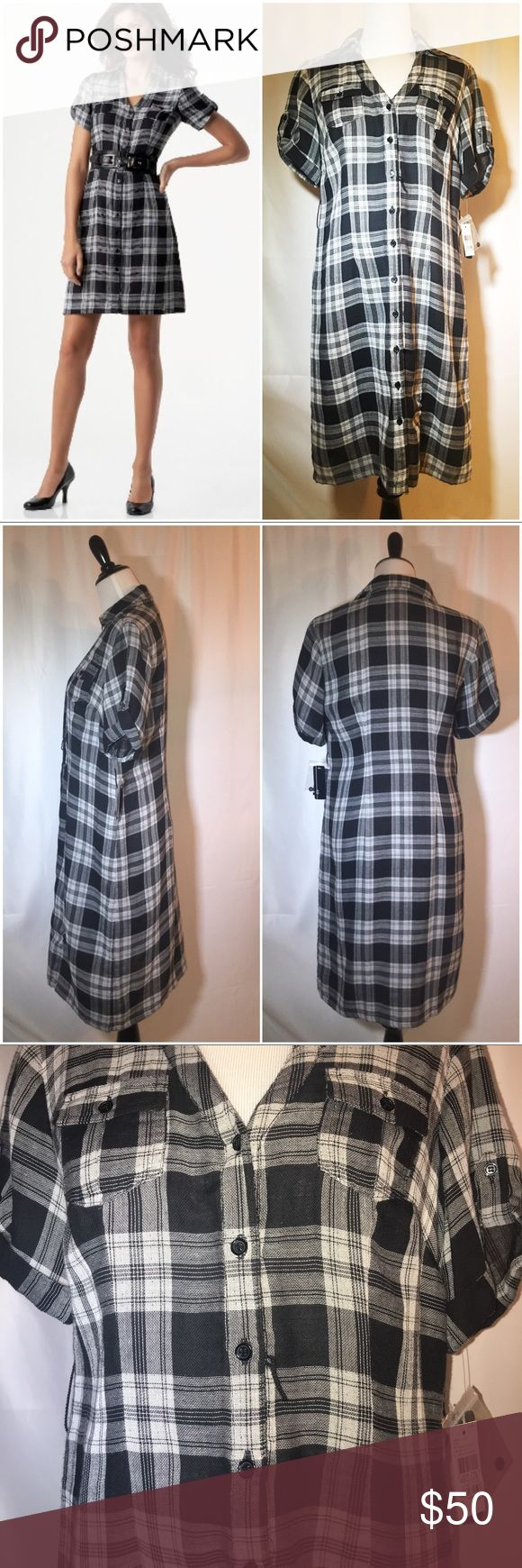 AGB Belted Plaid Shirtdress Brand New AGB Plaid Shirtdress from Macy's. Does not include a belt, but has the string loops for one of your choosing. Excellent condition. Classic and trendy.  Reasonable offers accepted. 20% off bundles! AGB Dresses Midi