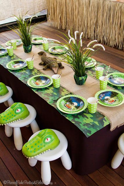 Gator Birthday Party Table Setting                                                                                                                                                                                 More
