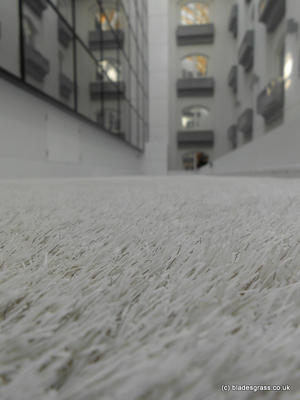 White artificial grass - we installed this pure white artificial grass in the large atrium of a private hospital in London. The design is yet to completed but the brief is to create a calm, peaceful space for patients.