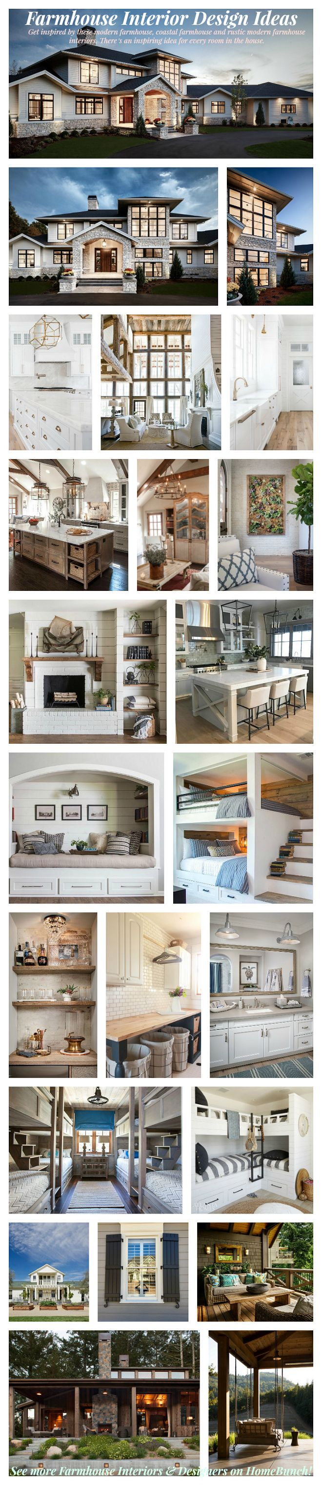 Farmhouse Interiors. Get inspired by these modern farmhouse, coastal farmhouse and rustic modern farmhouse interiors. There's an inspiring idea for every room in the house. #Farmhouse #FarmhouseInteriors #coastalFarmhouse #modernFarmhouse #rusticFarmhouse