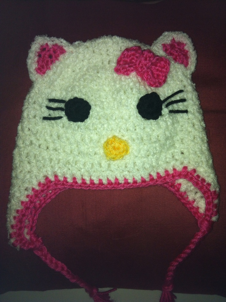 Cute and easy Hello Kitty Hat. Pattern from
