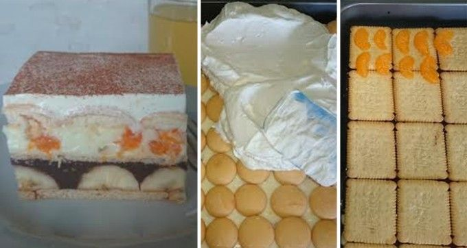 Famózní nepečené ovocné řezy | 250 gmáslových sušenek (BB sušenky) 5-6banánů 1 litrmléka 2 bal.čokoládové pudinky 2 bal.vanilkové pudinky 250 gjemného tvarohu 8 lžickrystalového cukru 2 bal.vanilkového cukru 500 mlšlehačky (smetany ke šlehání 30-33%) 2 lžícemoučkového cukru 1 kelímekzakysané smetany skořice na posypání dětské kulaté piškoty mandarinkový kompot
