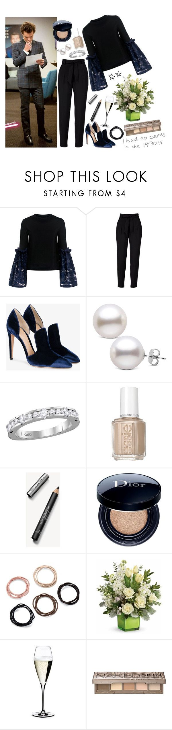 """""""Being a guest at the Late Late show with Harry"""" by phenomeniall-style ❤ liked on Polyvore featuring Mother of Pearl, Gianvito Rossi, Essie, Burberry, Christian Dior, Riedel, Urban Decay and harrystyles"""