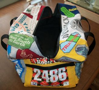 Gym bag made of out race bibs and t-shirts... very cool idea