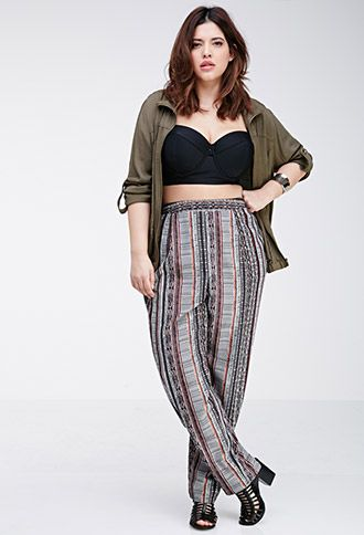 Striped Tribal Print Pants | Forever 21 PLUS | #f21plus