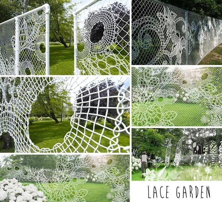 lace garden fence made out of wire.