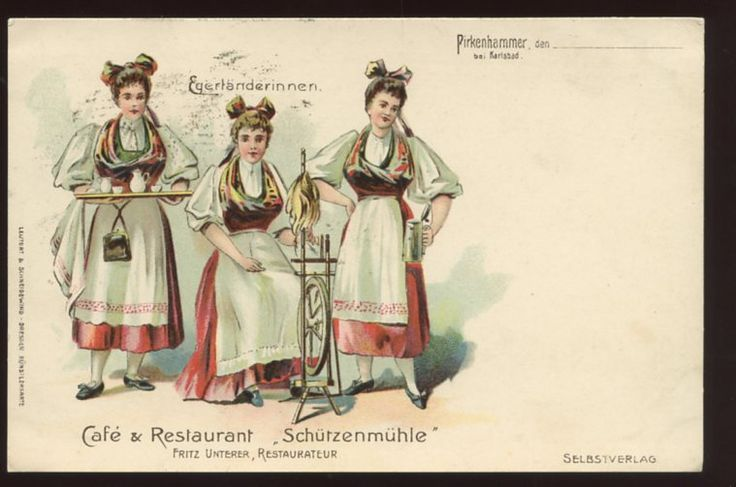 Bohemia Czech town Pirkenhammer advertising card.  Spinning and beer. Egerland #Sudetendeutsche