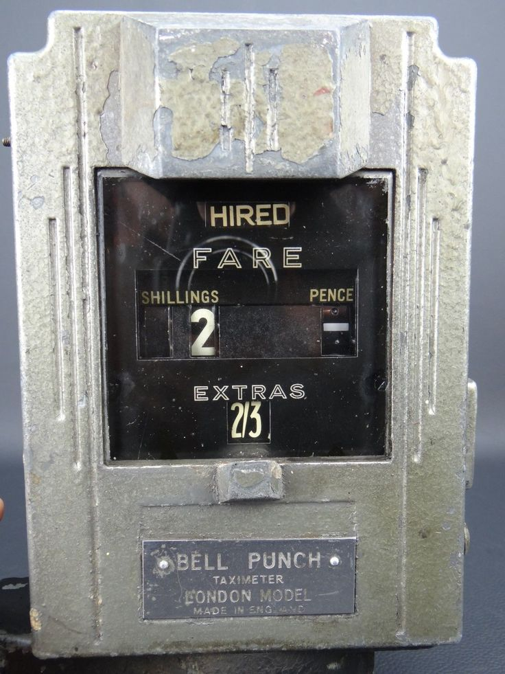 Art Deco Bell Punch Taxi meter as fitted to Austin cabs in the 1930s. Not the flat top - the 'Cathedral' version has an extra 2 squares on top.