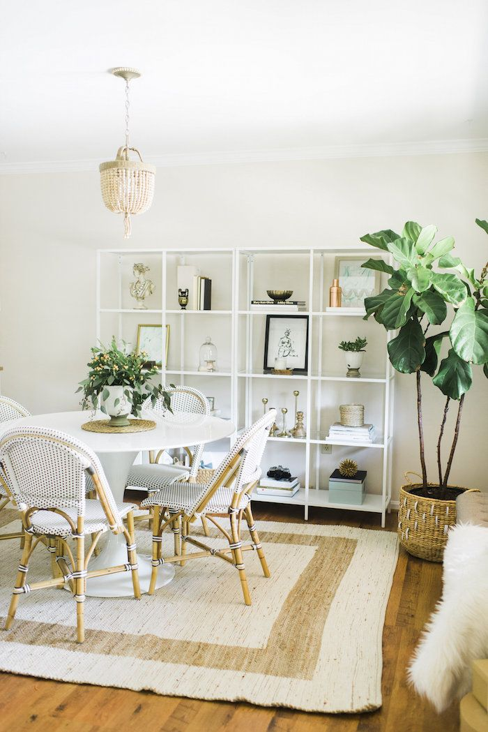 Pretty dining table! Love the shelving!