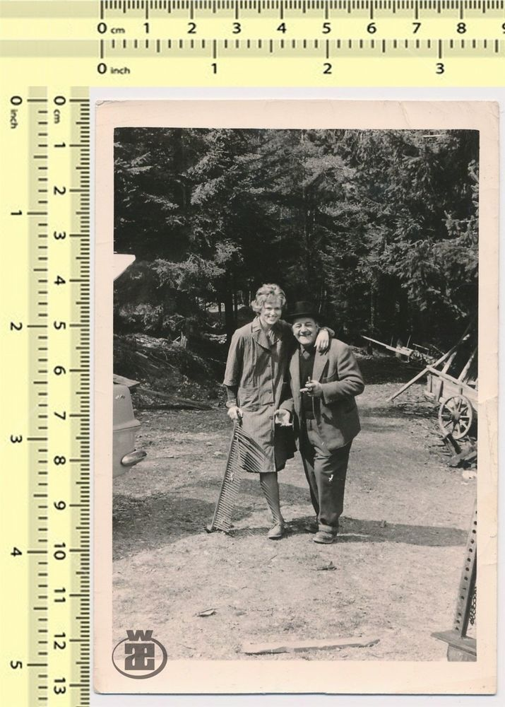 020 Disabled, One Legged Woman and Man Hug, Smiling Portrait vintage photo