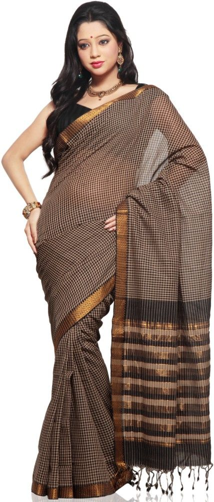 Indian Traditional Handloom Sarees: Mangalagiri beautiful Black and White Color saree
