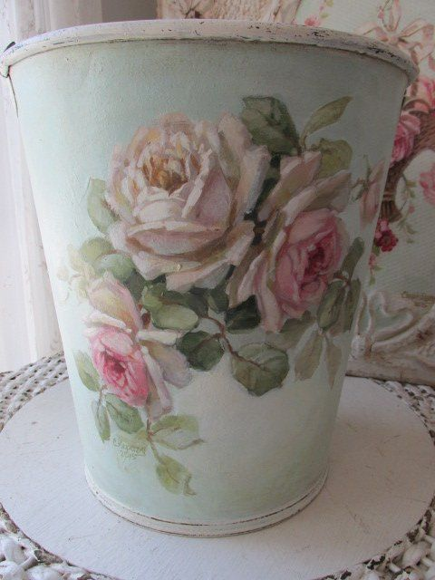 OMG ORIGINAL Christie REPASY PAINTING WHITE & PINK ROSES on French Garden Bucket