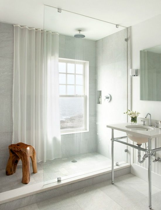 Window in shower shower curtain for privacy and to for Bathroom window curtains