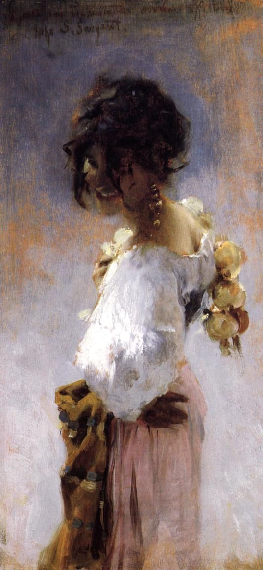 John Singer Sargent -  This has always been a favorite of mine. it is such a departure from his (lovely) Edwardian ladies dressed in fabulous gowns. This painting shows movement as opposed to his standing, sitting or reclining rich women. This woman smiles with warmth rather than distant and cold beauty.