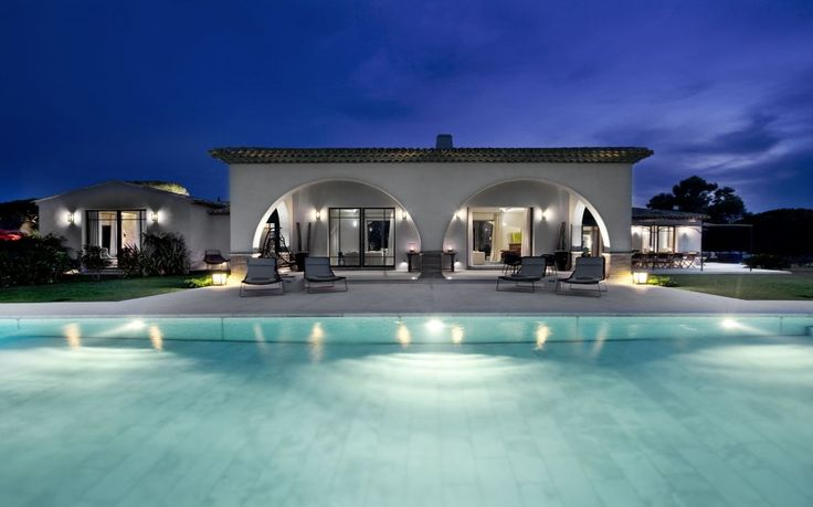 Pool outdoor-pool-house-designs-arched-house-at-night-with-out-door-lighting-ideas 27 Aweome Picture of Pool House Designs