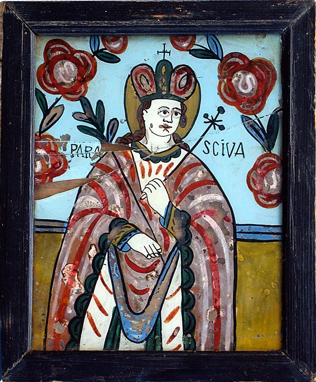St. Paraskeve, Hinterglasikone, Gherla, Siebenbürgen, Rumänien, Mitte 19. Jahrhundert, Rahmen 25 x 31 cm Innen 20 x 25,5 cm (Glas leider gesprungen)