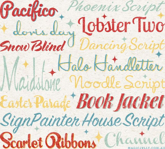 Script Fonts. Lots for free commercial use. Some for personal use only. #fonts #script