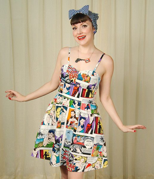 """""""This brightly colored cotton dress is perfect for those who love pop art and comic books!"""""""
